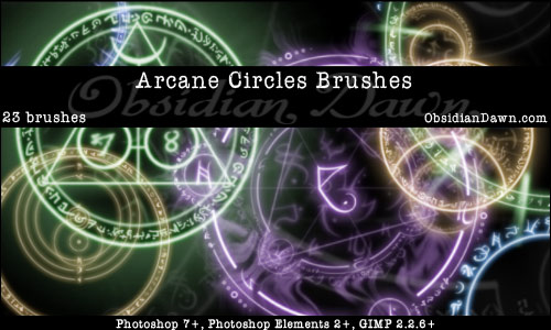 Arcane Circles Photoshop & GIMP Brushes | Obsidian Dawn