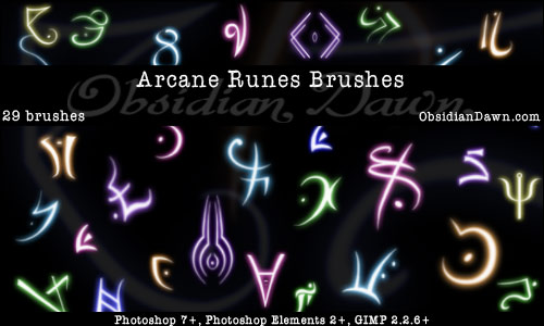 Arcane Runes Photoshop & GIMP Brushes | Obsidian Dawn
