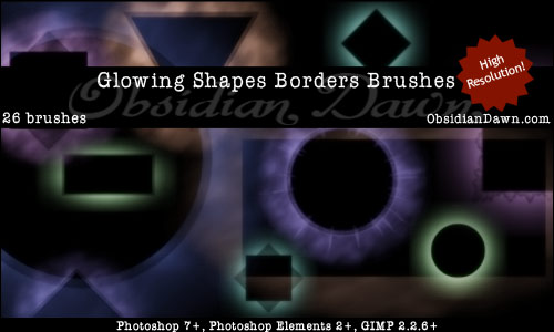 Glowing Shapes Borders Brushes