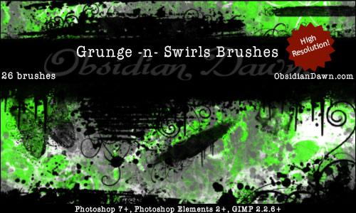 Recursos Para Seu Photoshop ! Grunge-swirls-brushes