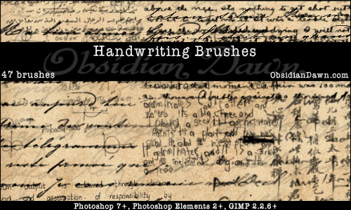 Handwriting photoshop gimp brushes obsidian dawn