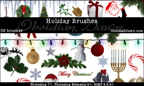 Holiday (Christmas & Hannukah) Photoshop & GIMP Brushes