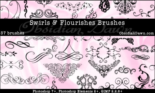 photoshop brushes swirls. Swirls amp; Flourishes Brushes
