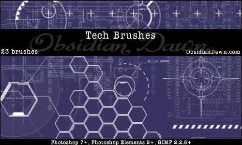 Tech Photoshop & GIMP Brushes Tech-brushes