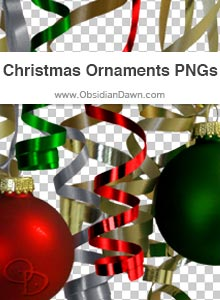 Christmas Ribbons & Ornaments PNGs