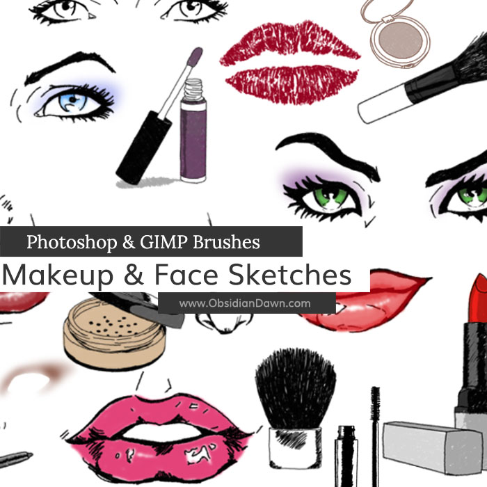 Makeup & Face Sketches Photoshop & GIMP Brushes | Obsidian Dawn