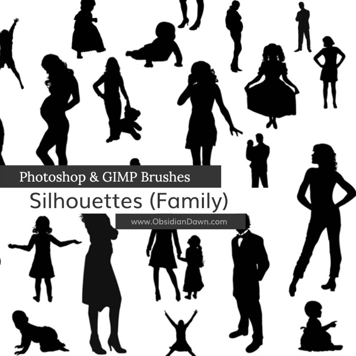 Silhouettes Photoshop & GIMP Brushes | Obsidian Dawn